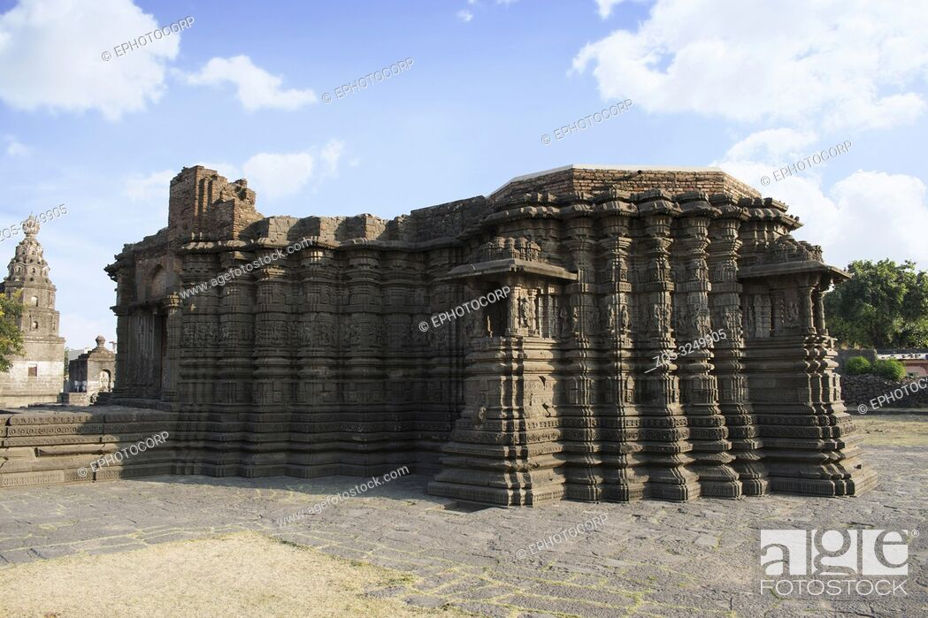 Stock Photo: Right Side view, Daitya Sudan temple side view, Lonar, Buldhana District, Maharashtra, India.
