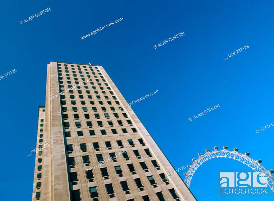 Stock Photo: Shell building and British Airways London eye. London. England.
