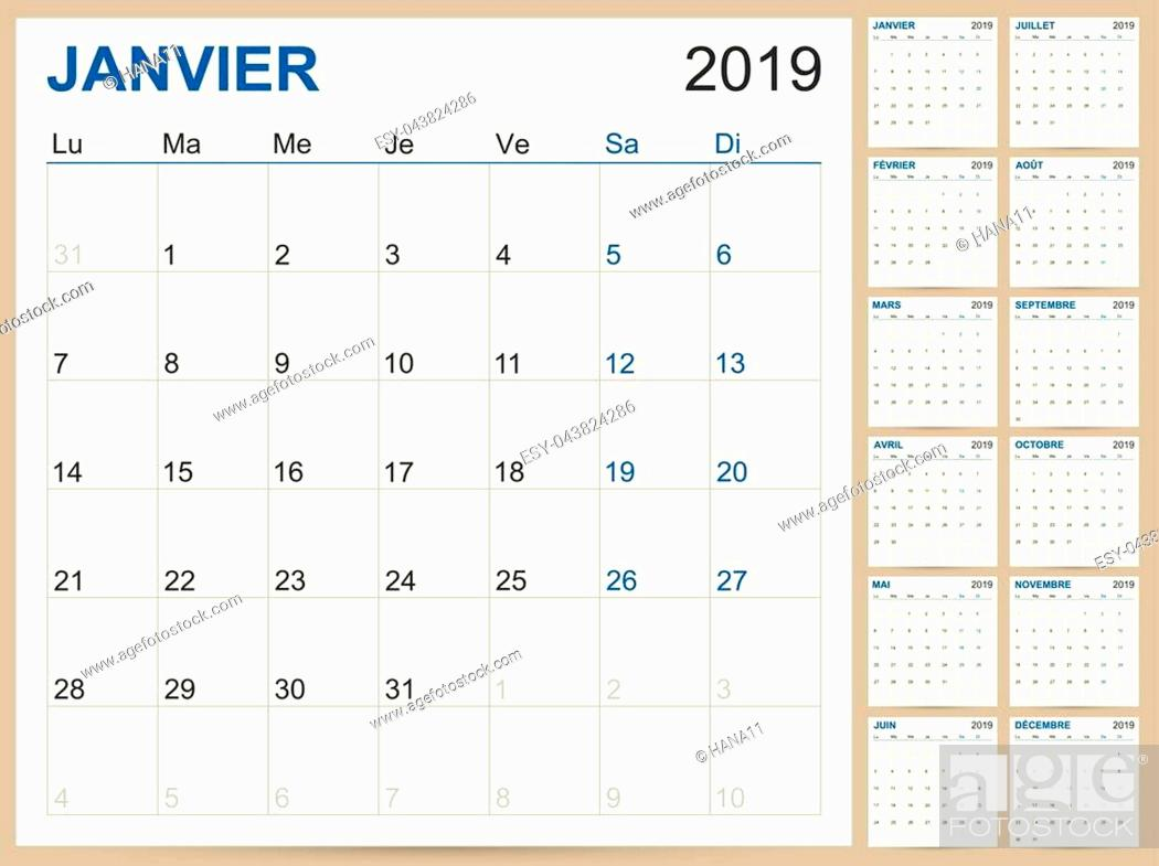 Stock Vector: French planning calendar 2019, French calendar template for year 2019, set of 12 months, week starts on Monday, printable calendar templates vector illustration.