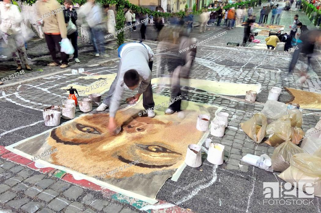 Stock Photo: artists making composition with flower petals at infiorata of genzano province of roma italy europe.