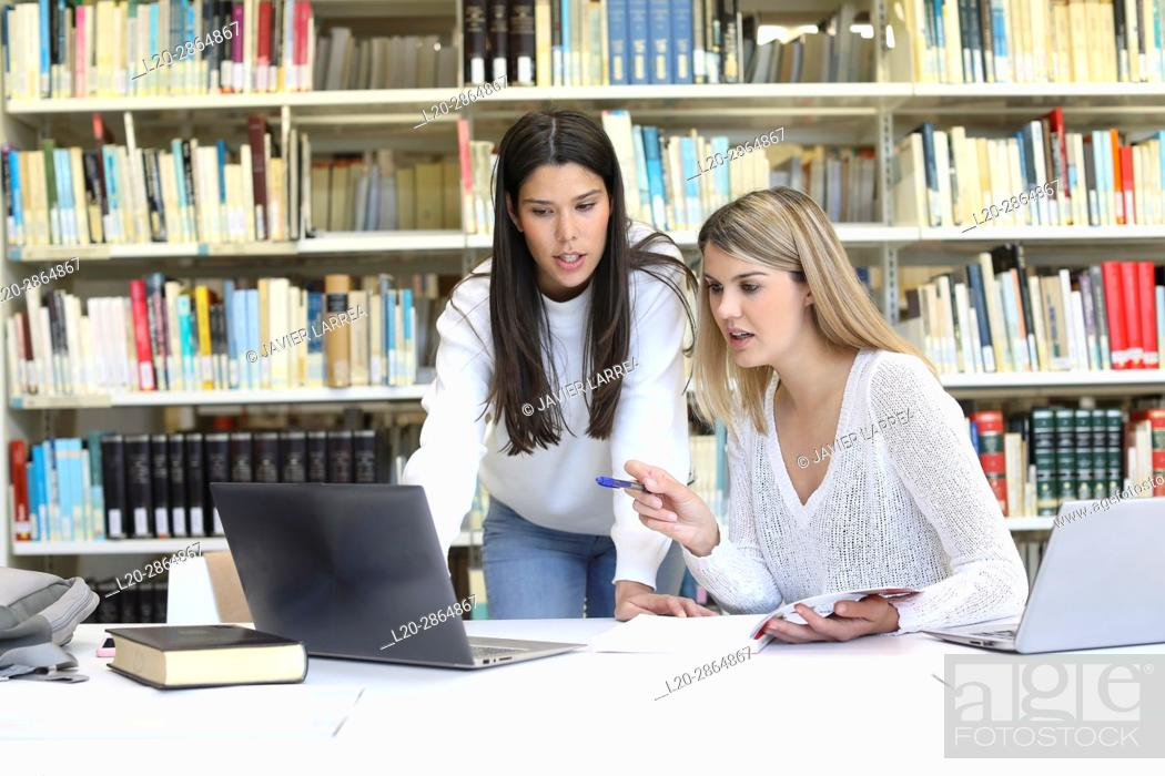 Stock Photo: Students in the library, University of the Basque Country, Donostia, Gipuzkoa, Spain.