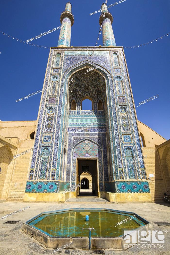 Stock Photo: Masjed-e Jameh mosque. Yazd, Iran, Asia.