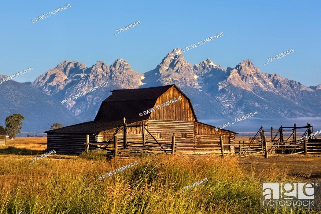 Stock Photo: Reed Moulton barn and homestead, Grand Teton National Park, Wyoming, USA.