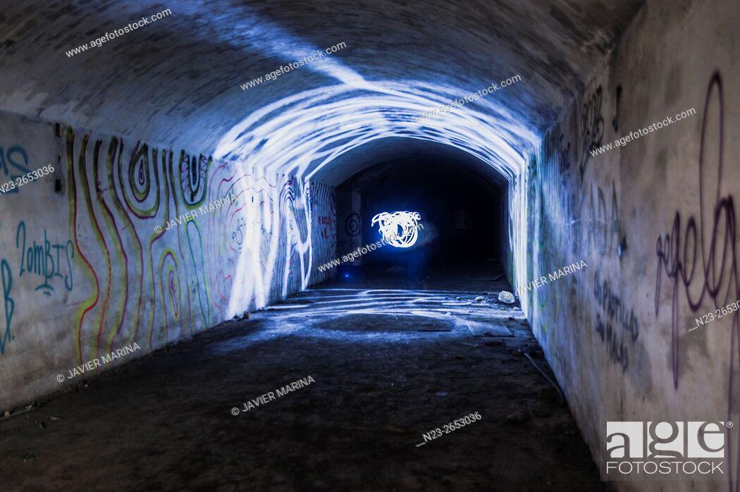 Stock Photo: Tunnels dug into the rock, abandoned artillery barracks, Ribarroja, Valencia, Spain.