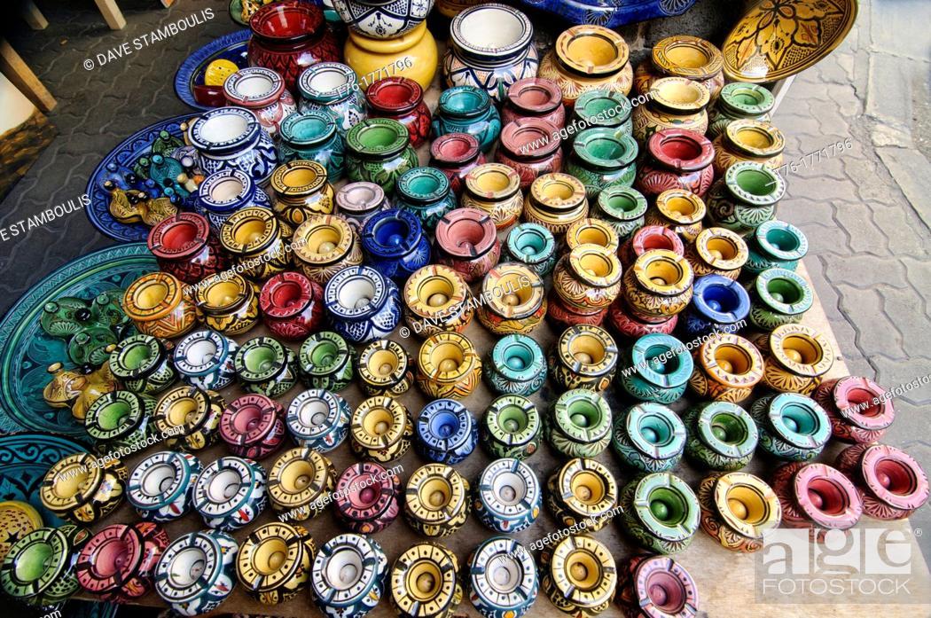 Souvenirs For Sale At The Quartier Habous Bazaar In Casablanca