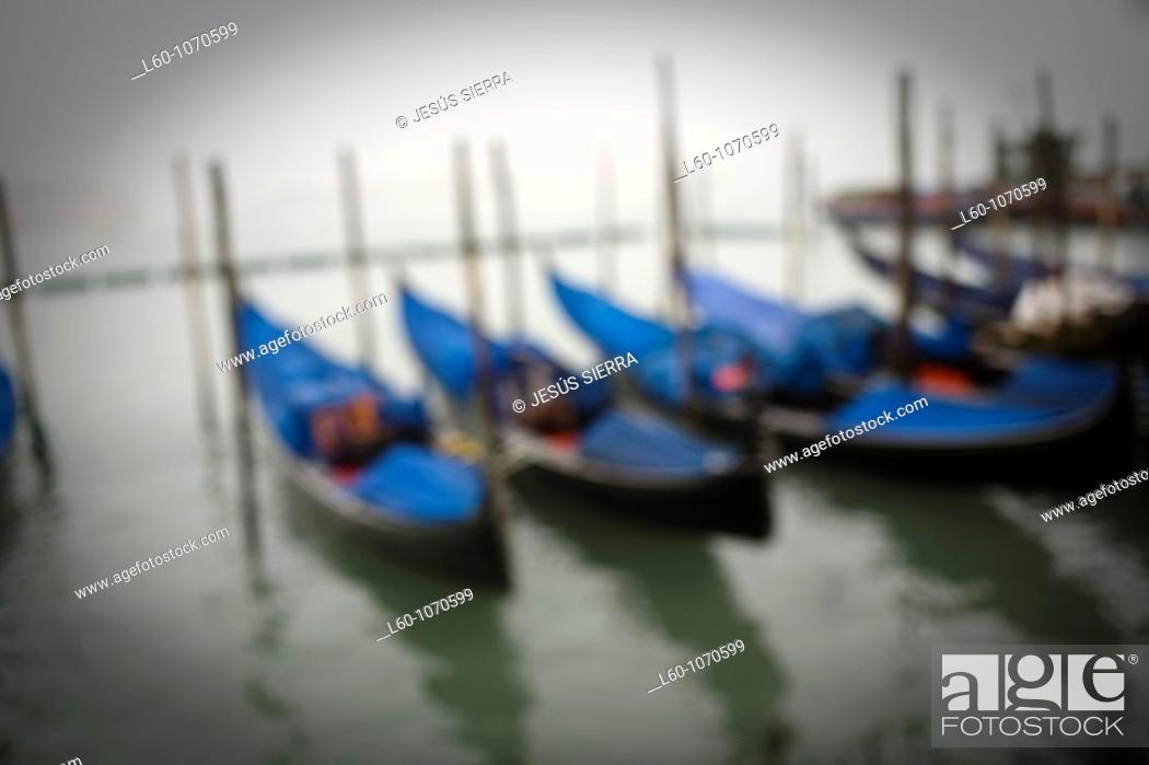 Stock Photo: Fog in Canal, Venice, Italy.