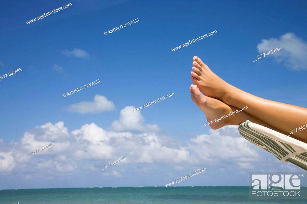 Stock Photo: Usa. Florida. Miami. Key Biscayne. Woman on the beach of Crandon Beach.