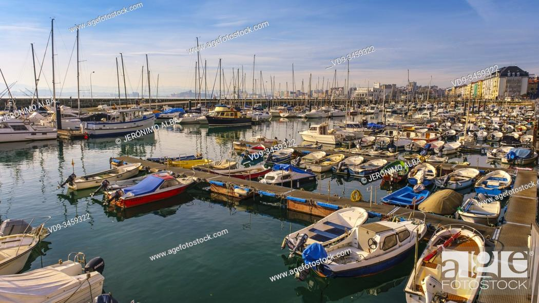 Stock Photo: Panoramic harbor view. Boats at Puerto Chico marina and city of Santander, Cantabrian Sea. Cantabria, north Spain. Europe.