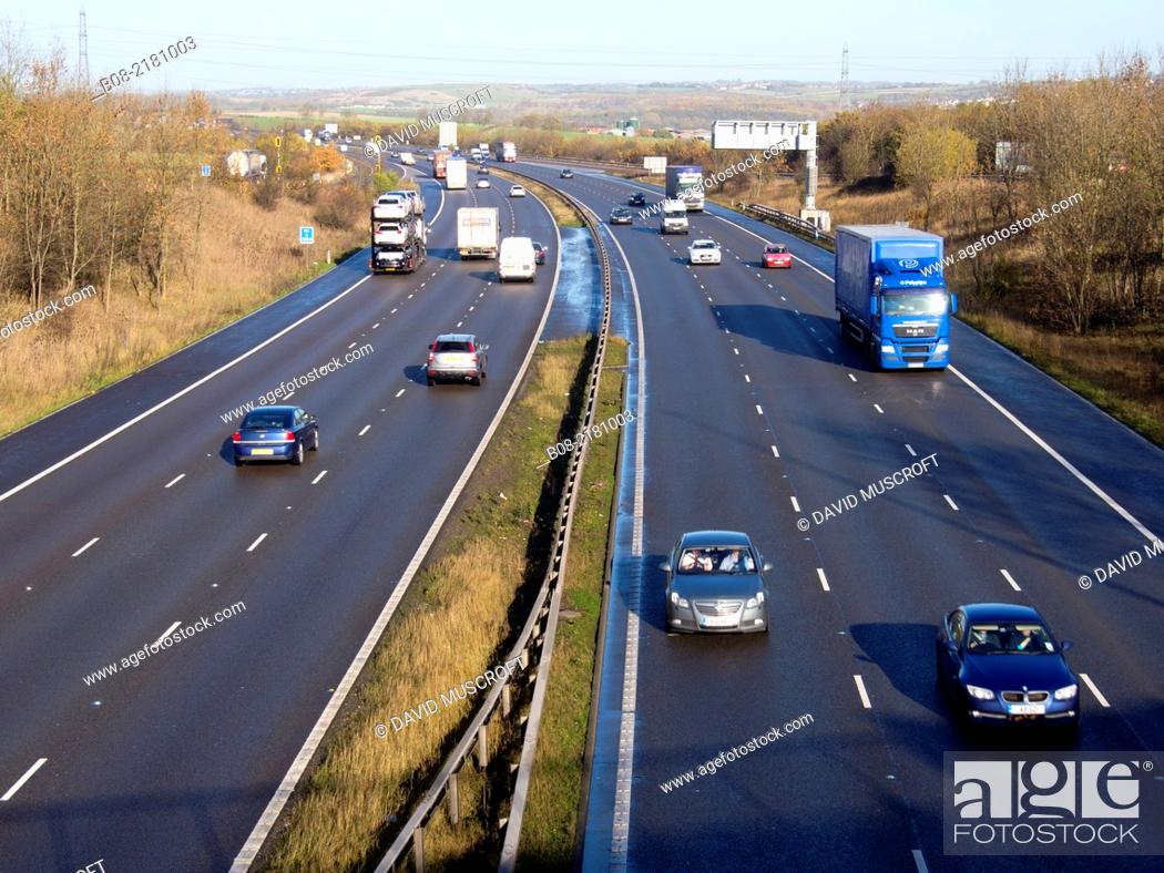 Stock Photo: The M1 motorway near Chesterfield, Derbyshire, England.