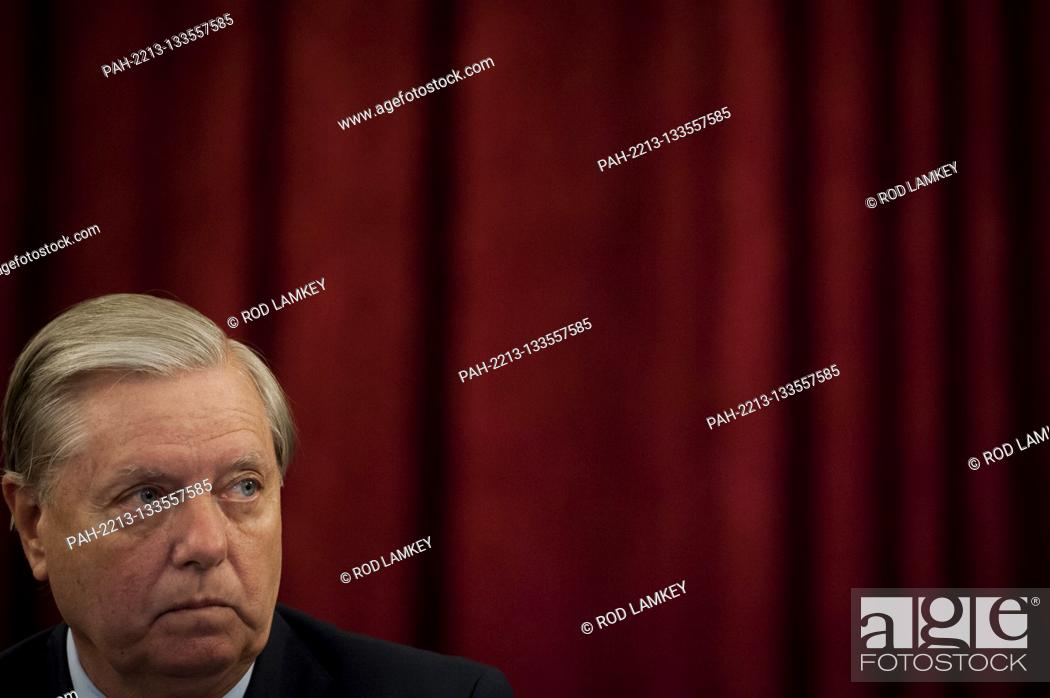Stock Photo: United States Senator Lindsey Graham (Republican of South Carolina), Chairman, US Senate Judiciary Committee, listens to remarks during the committee markup of.