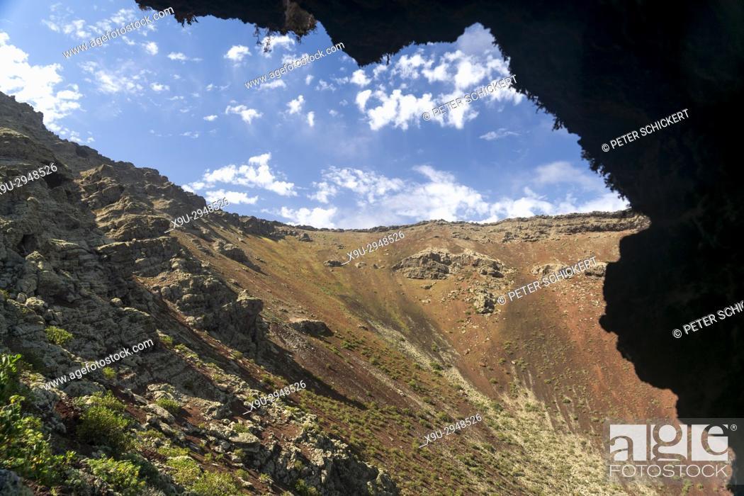 Stock Photo: La Corona volcano crater near Ye, Lanzarote, Canary Islands, Spain.