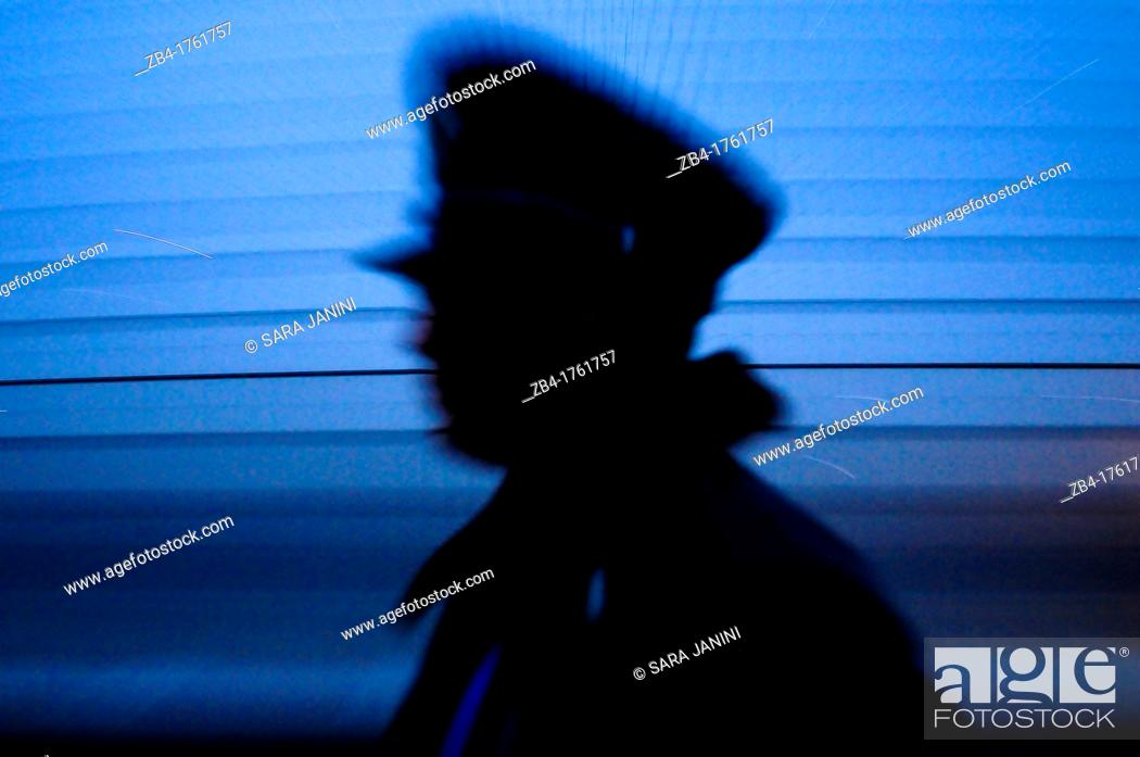 Stock Photo: Security policeman at the The National Theatre in the night, Beijing, China, Asia.