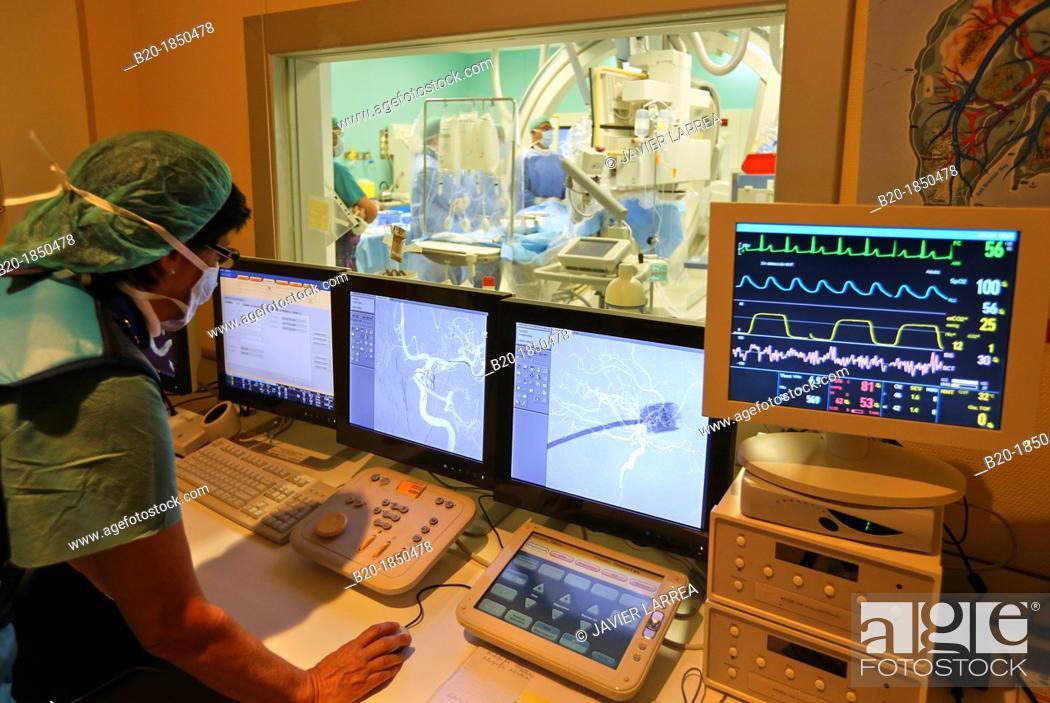 Stock Photo: Cerebral aneurysm embolization, Willis polygone Angiography, Interventional Neuroradiology, Radiology Department, Donostia Hospital, San Sebastian, Donostia.