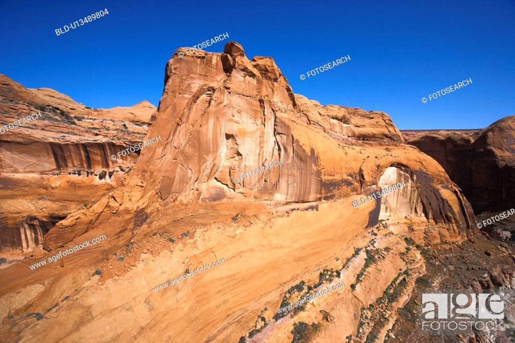 Stock Photo: Aerial view of land formation in Glen Canyon National Recreation Area, Utah.