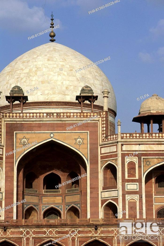 Stock Photo: Close-up of dome, Humayun's Tomb, New Delhi, India.