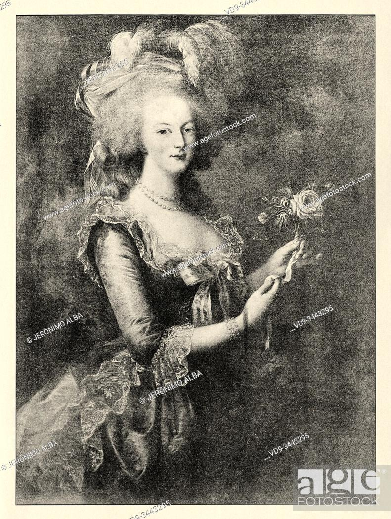 Photo de stock: Portrait of Marie Antoinette, 1755-1793. Wife of King Louis XVI and last Queen of France. History of France, old engraved illustration image from the book.