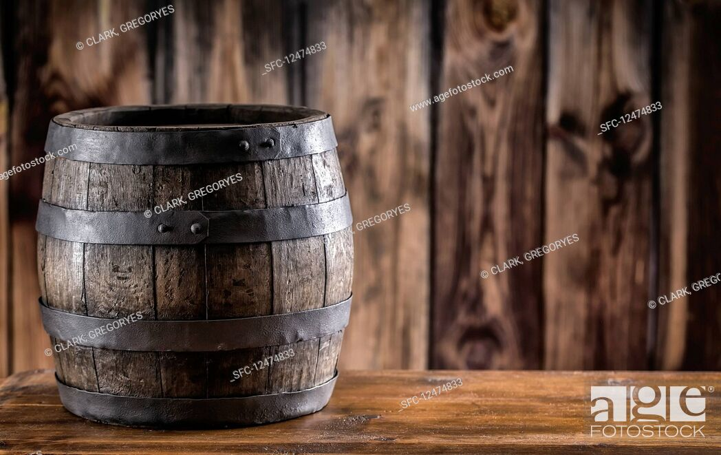 Stock Photo: Old wooden barel.