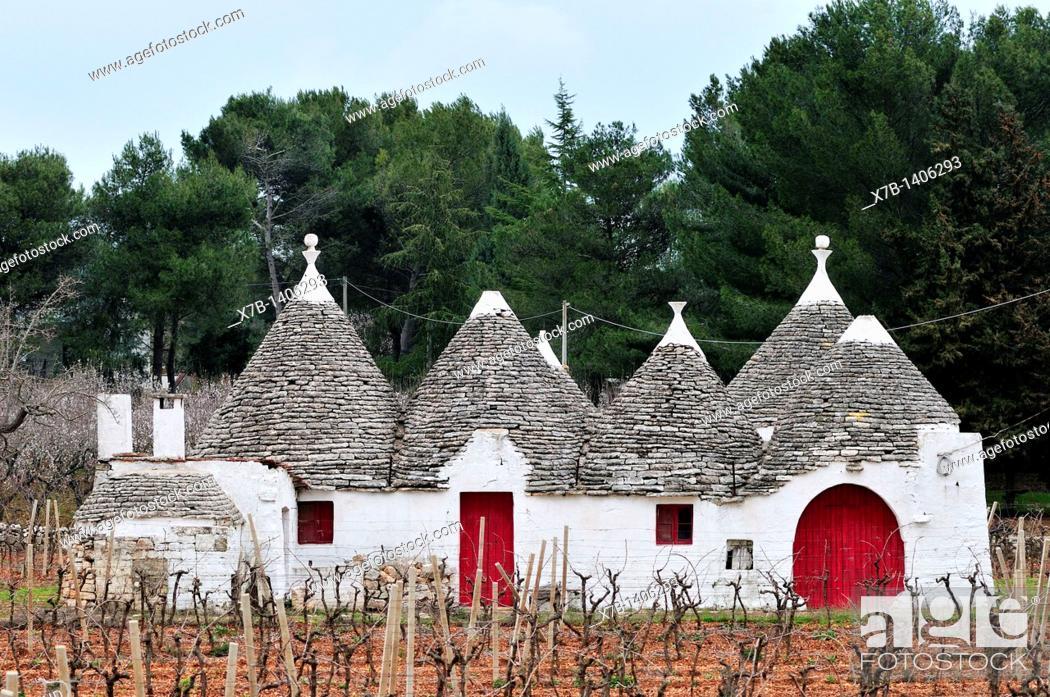 Stock Photo: Locorotondo  Puglia  Italy  Trullo in the countryside between Locorotondo and Alberobello.