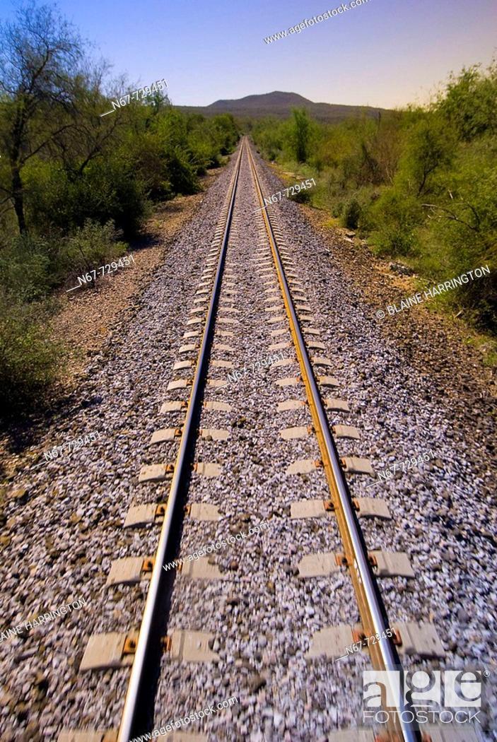 Stock Photo: Train tracks of the Chihuahua al Pacifico Railroad Chepe train, near the Copper Canyon, Mexico.