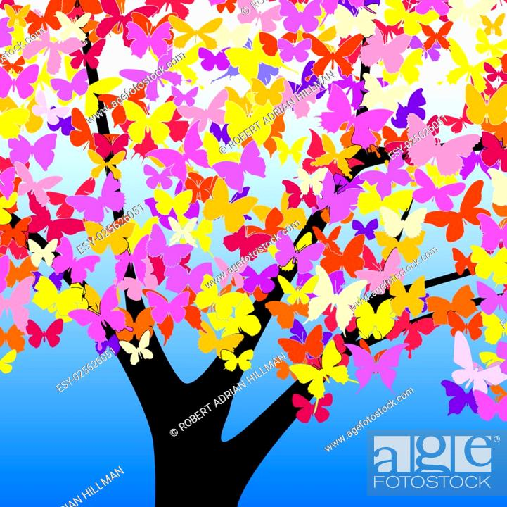 Vector: Editable vector illustration of a tree with butterfly leaves.