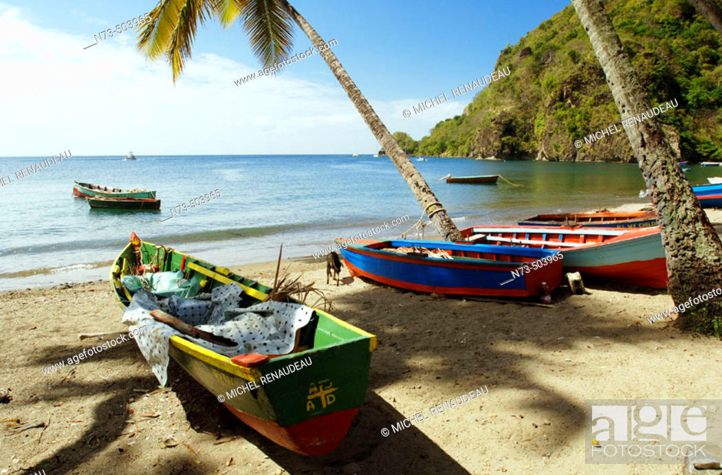 Stock Photo: Soufriere town, under the same name volcano. Santa Lucia. West Indies. Caribbean.