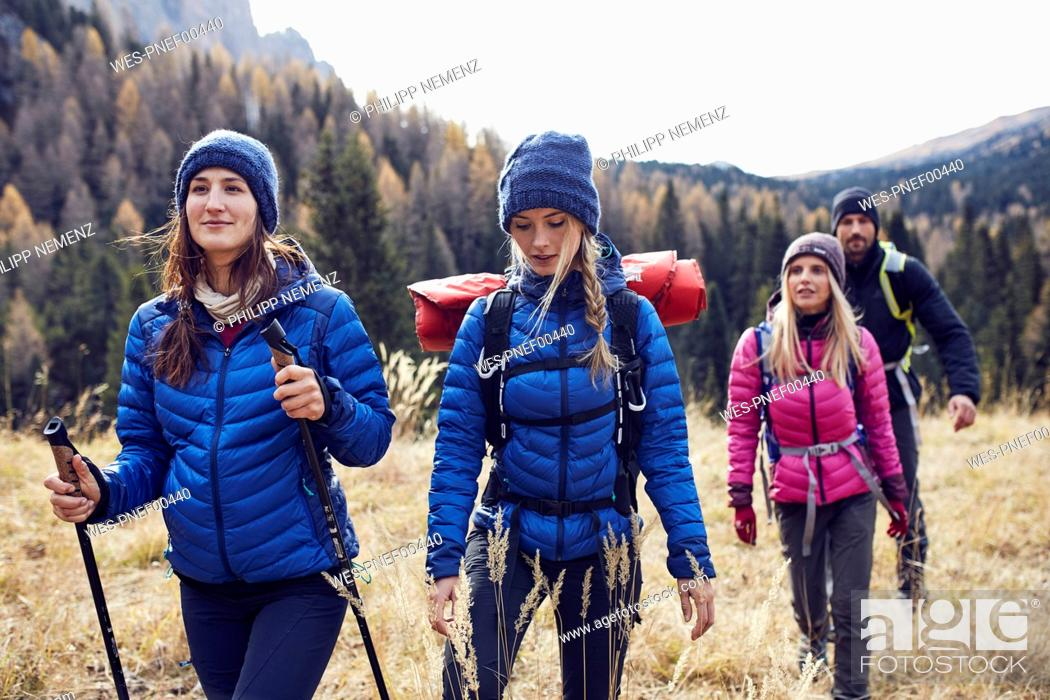 Imagen: Group of friends hiking in the mountains.