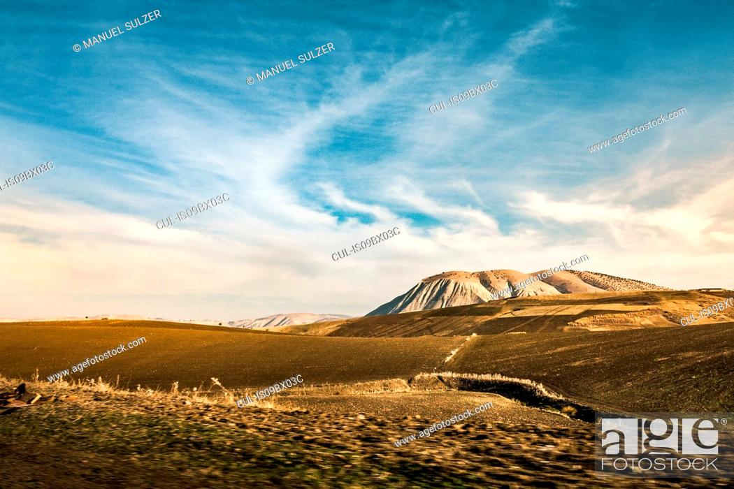 Stock Photo: Hilly arid landscape with distant mountains, Chefchaouen, Morocco.