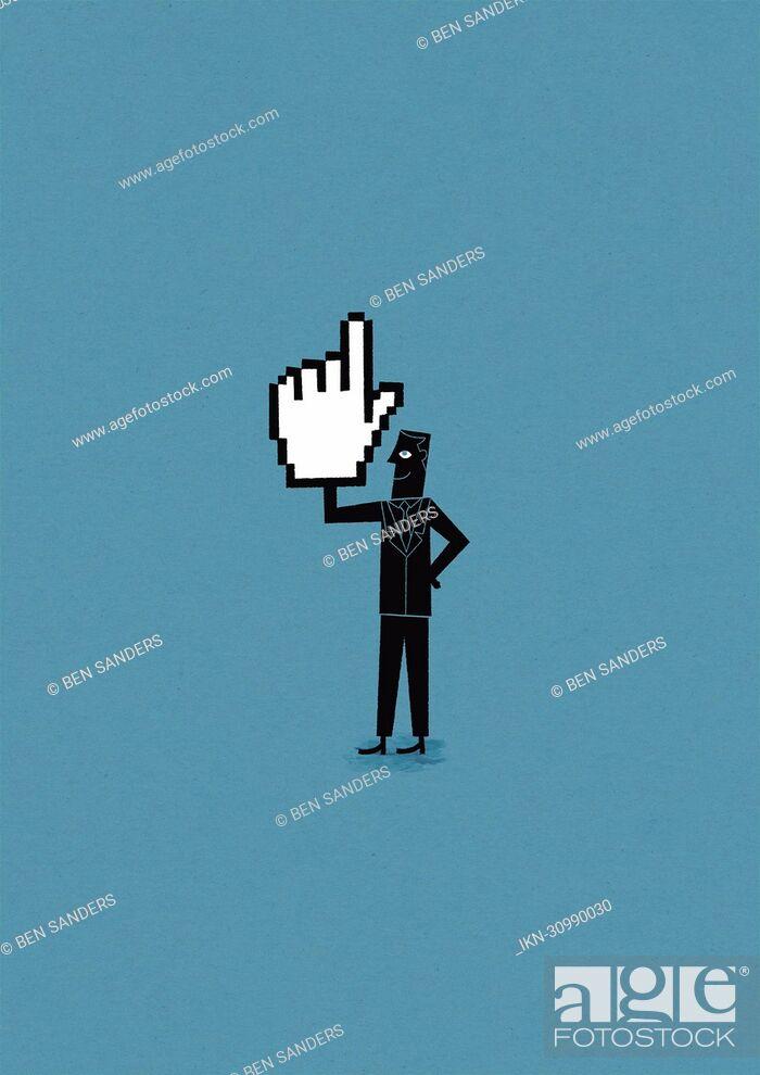 Imagen: Confident man holding cursor hand.