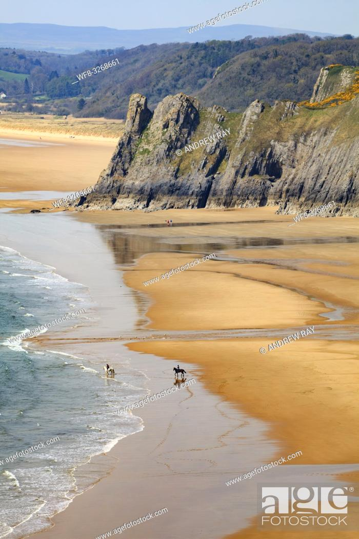 Stock Photo: Horses on Three Cliff's Bay beach on the Gower Peninsula in South Wales, with Great Tor in the distance.