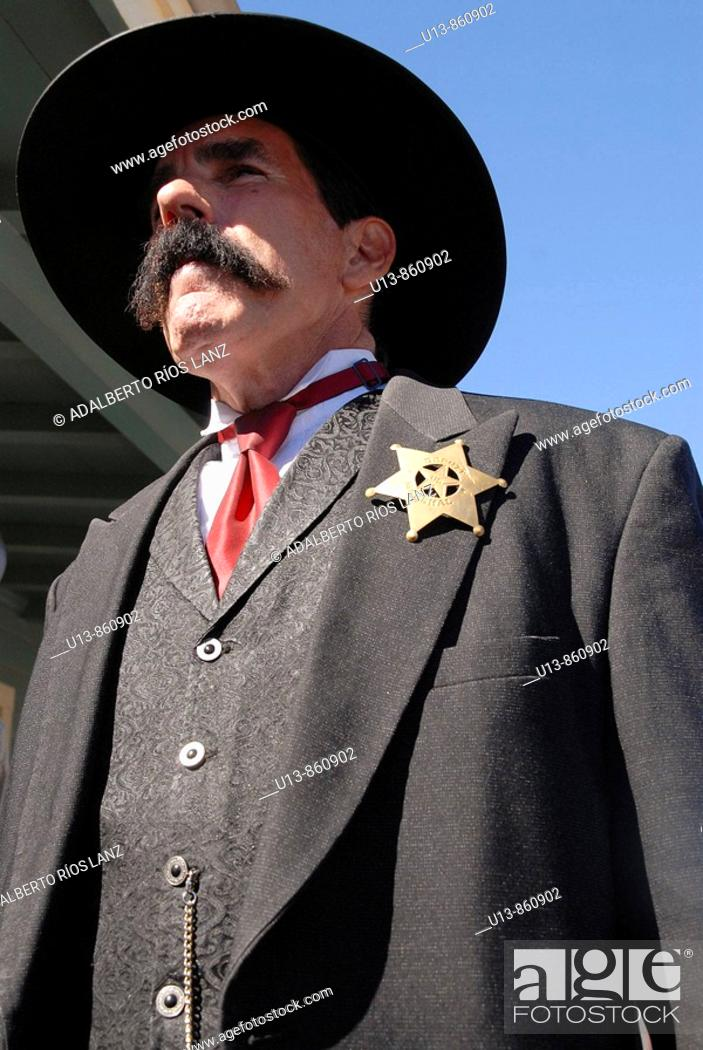 Stock Photo: Actor Dressed as Virgil Earp in Tombstone, Arizona, USA.
