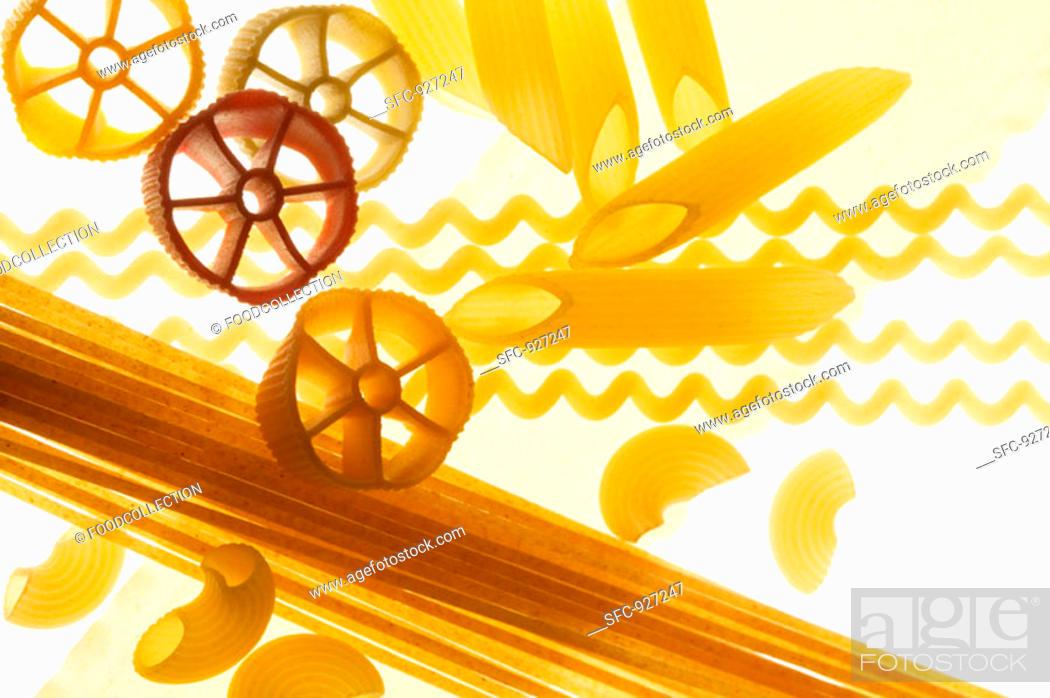 Stock Photo: Various types of pasta.