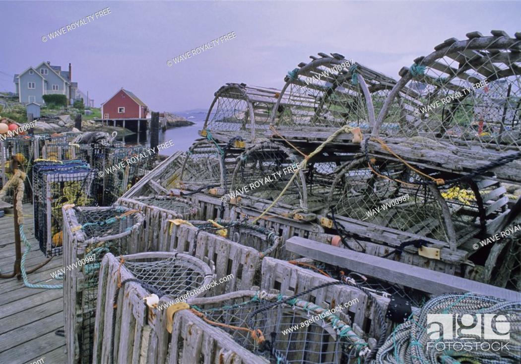 Stock Photo: Lobster traps near Peggy's Cove, Nova Scotia Canada.