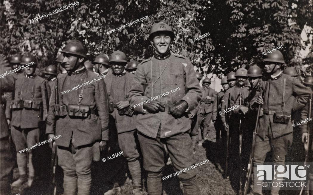 Stock Photo: Album Campagna di guerra 1915-1916-1917-1918, tenente Jack Bosio: soldiers of the imperial army in Gradisca, shot 10/1917.