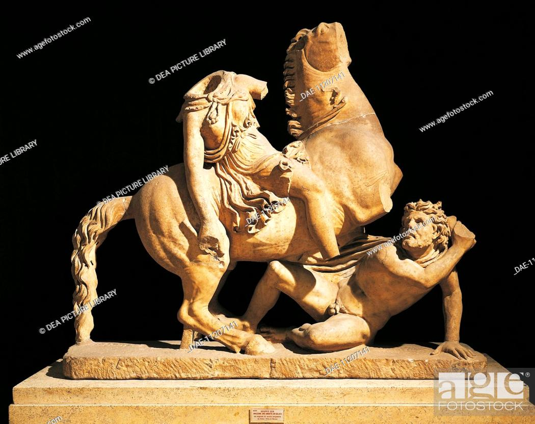 Stock Photo: Greek civilization. Sculptural group depicting amazon on horseback knocking down a Galatian. Copy after Pergamon.  Rome, Museo Nazionale Romano (National Roman.