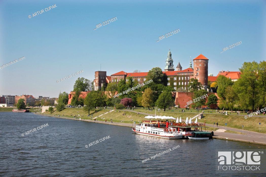 Stock Photo: Excursion boat on the Vistula river, Wawel, Krakow, Poland, Europe.