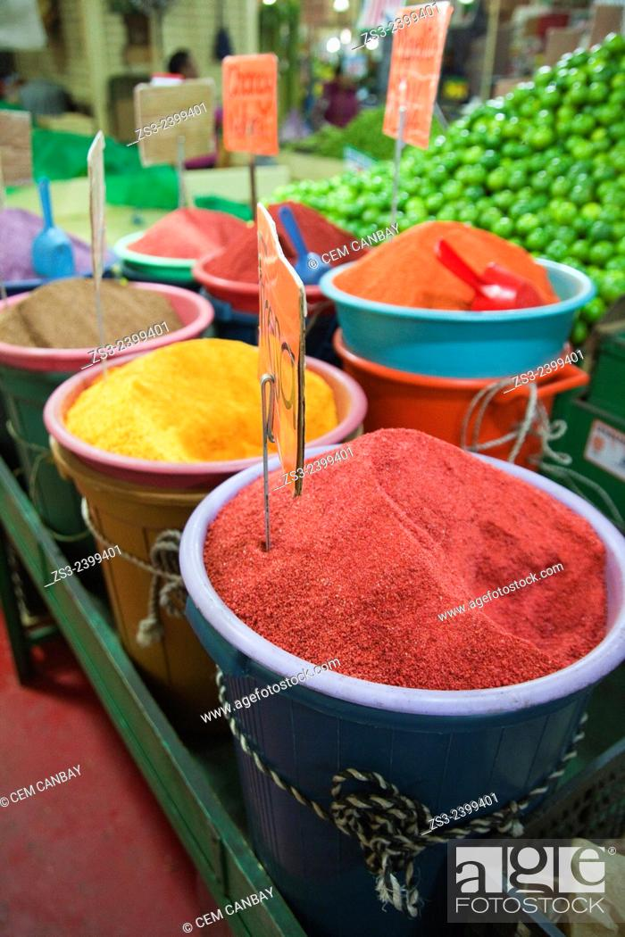 Stock Photo: Fruit powders and limes for sale at La Merced market, Mexico City, Mexico, Central America.