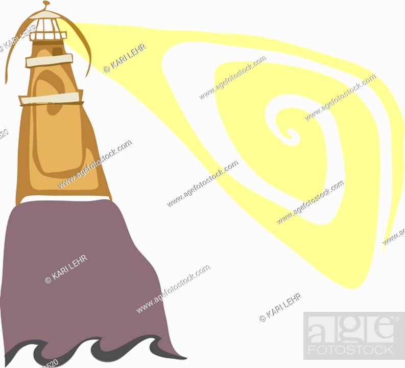 Stock Photo: A lighthouse shining light over the ocean.