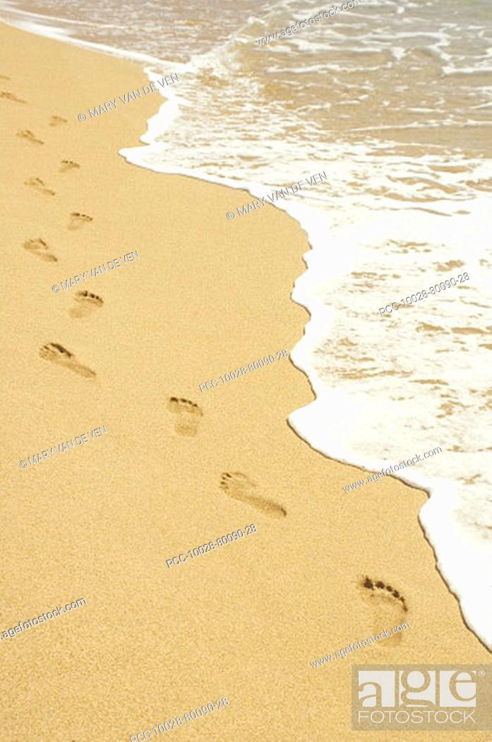 Stock Photo: Footprints in sand walking next to foamy ocean edge.