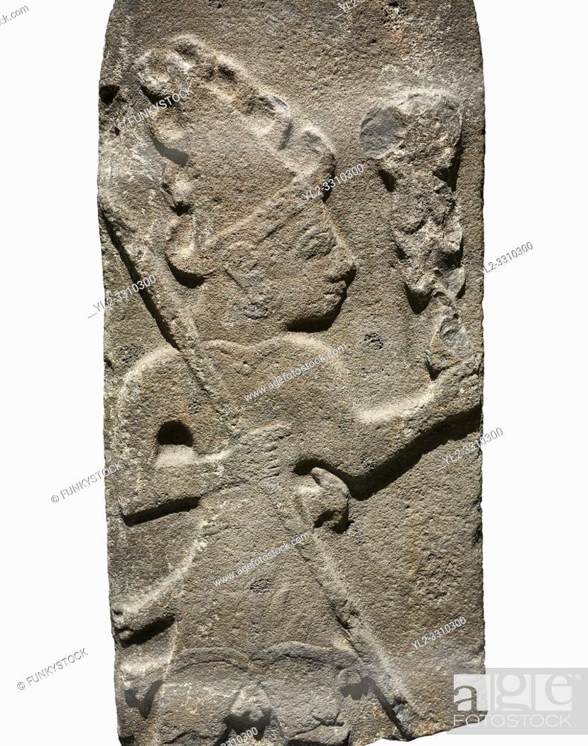 Stock Photo: Hittite monumental relief sculpture ofa God probably holding lightning rods. Late Hittite Period - 900-700 BC. Adana Archaeology Museum, Turkey.