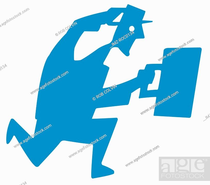 Stock Photo: Businessman running with briefcase.