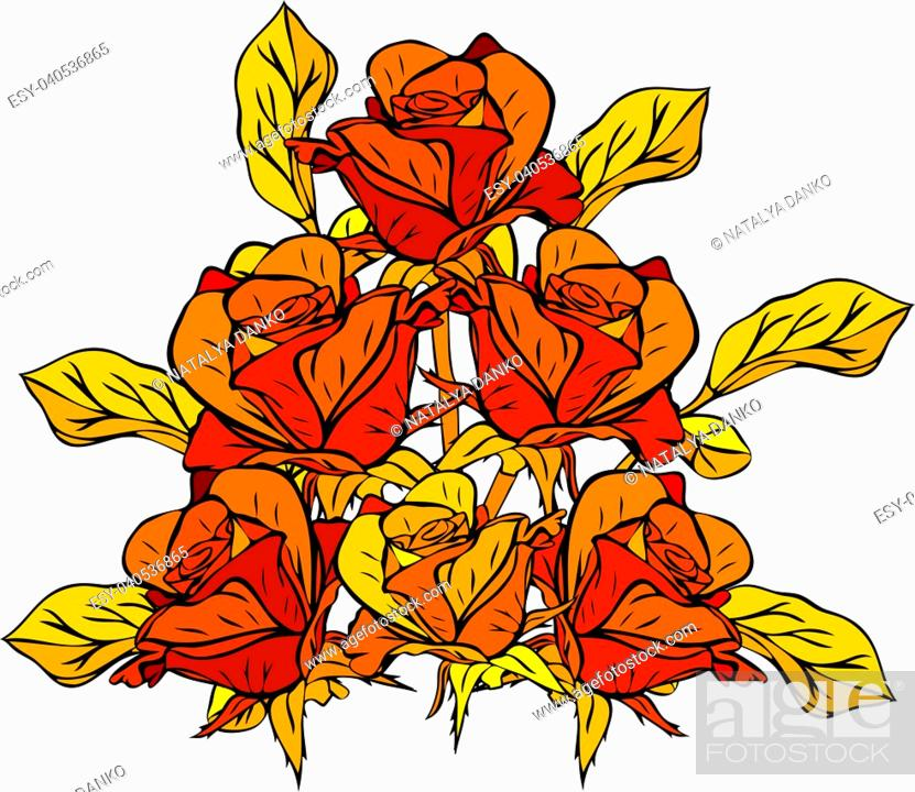 Stock Vector: hand-drawn bouquet of yellow roses with yellow leaves isolated on white background.
