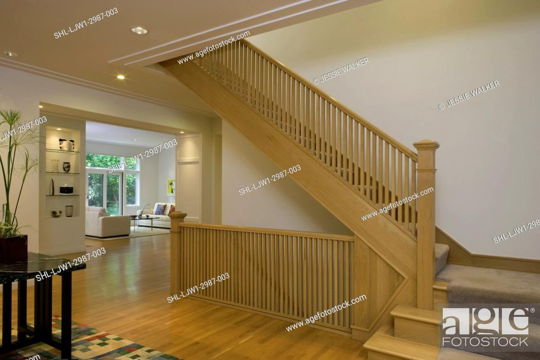 Stairways Contemporary Prairie Style Home With Plaster Crown Molding Open Concept Rooms Stock Photo Picture And Rights Managed Image Pic Shl Ljw1 2987 003 Agefotostock