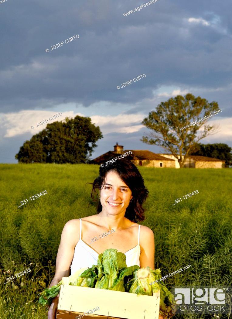 Stock Photo: vegetable box girl.