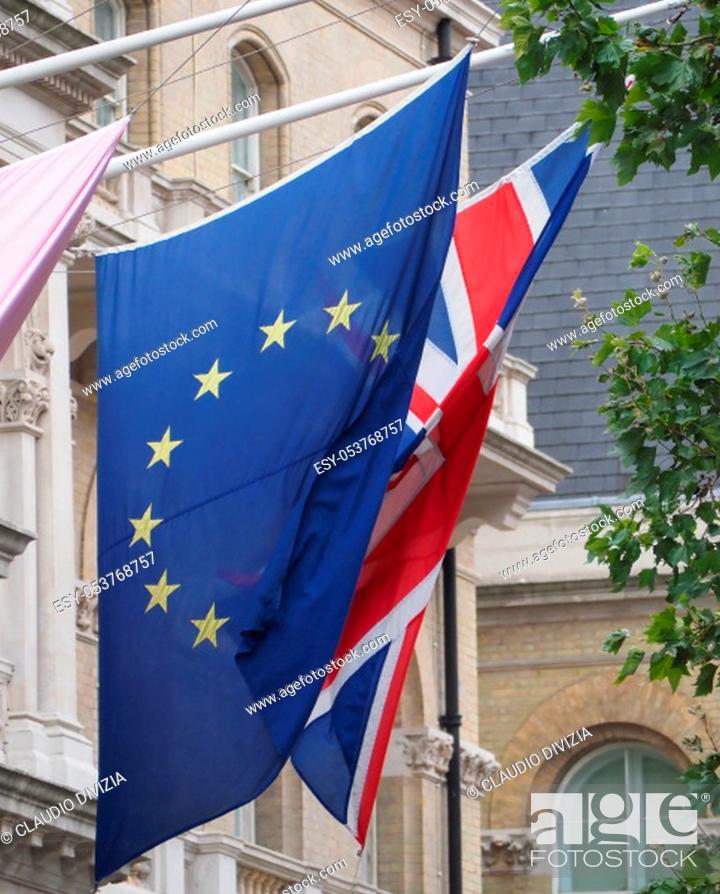 Stock Photo: national flag of the United Kingdom (UK) aka Union Jack and of European Union (EU).