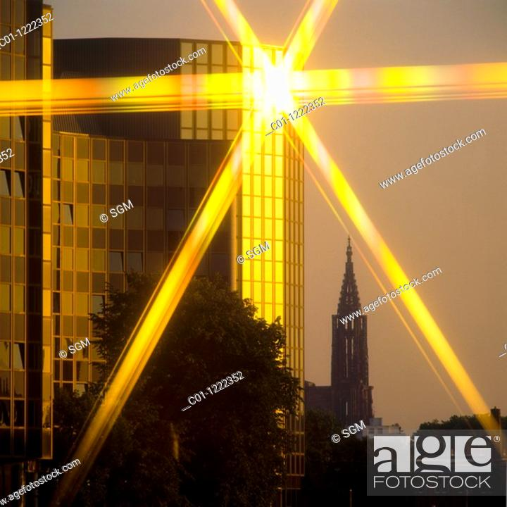 Stock Photo: Salvador de Madariaga building European Parliament & cathedral at sunset Strasbourg Alsace France.