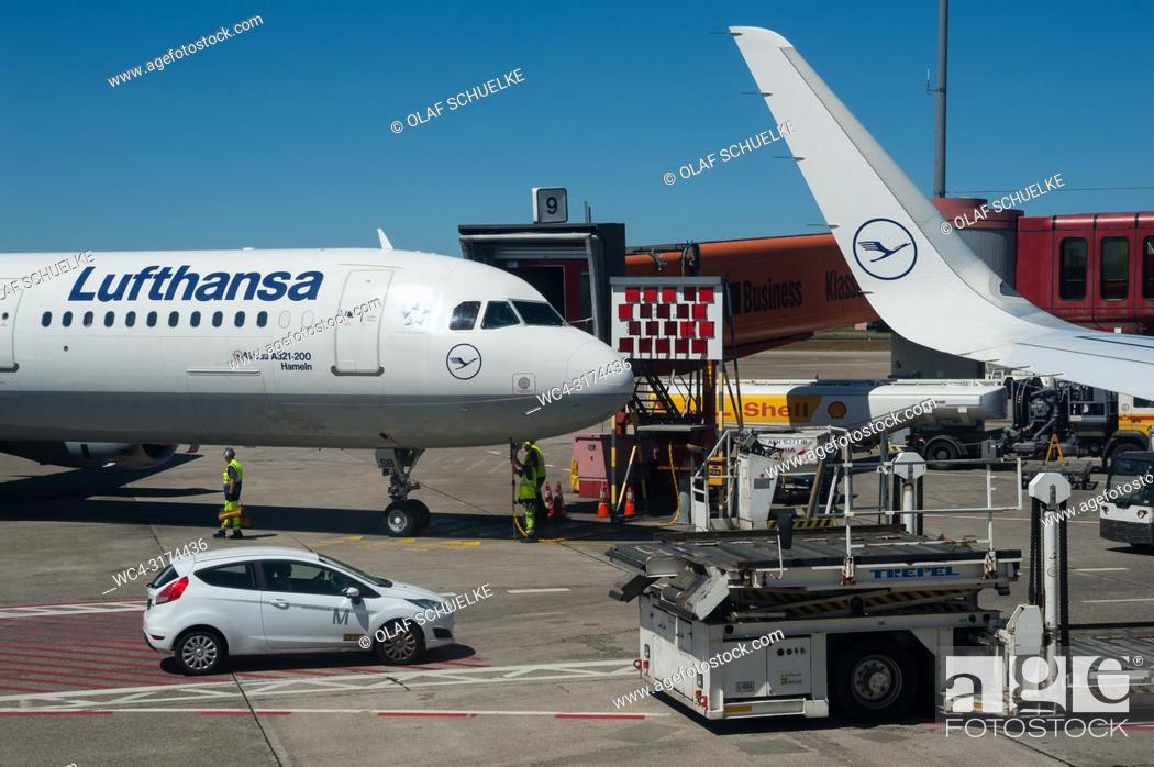 Stock Photo: 02. 06. 2017, Berlin, Germany, Europe - A Lufthansa passenger plane shortly before docking at Berlin's Tegel Airport. Lufthansa is a member of the Star Alliance.
