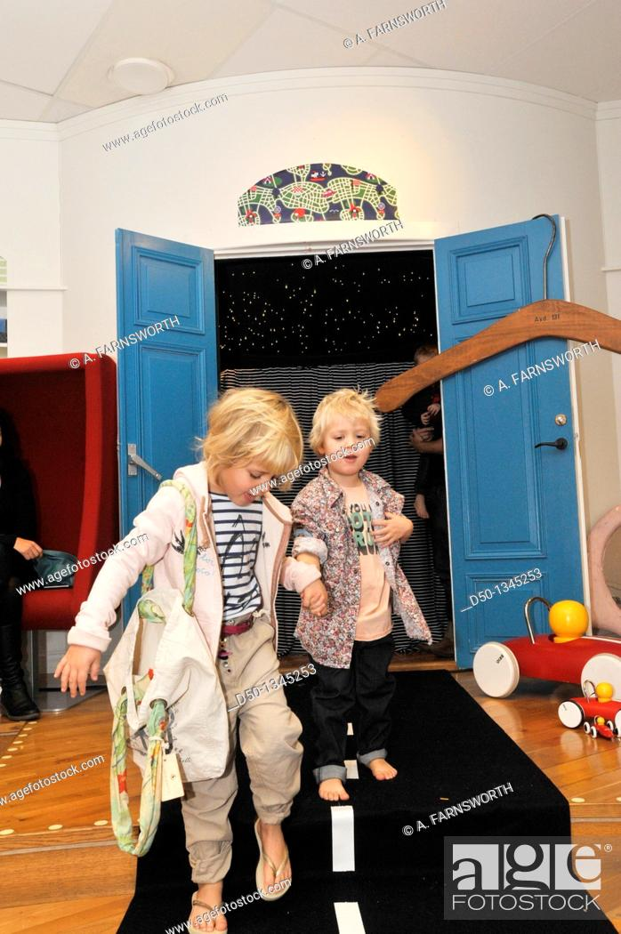 Stock Photo: Catwalk fashion show for kids clothing. Stockholm, Sweden.