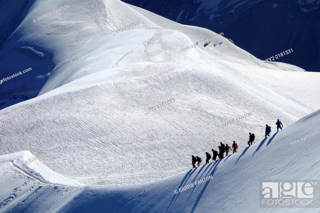 Stock Photo: Mountain Hikers, Chamonix, France, Europe.