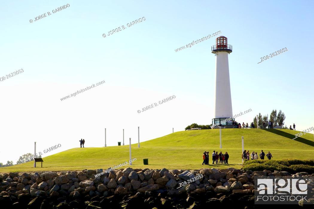 Stock Photo: Long Beach California Shoreline Park Lighthouse USA.
