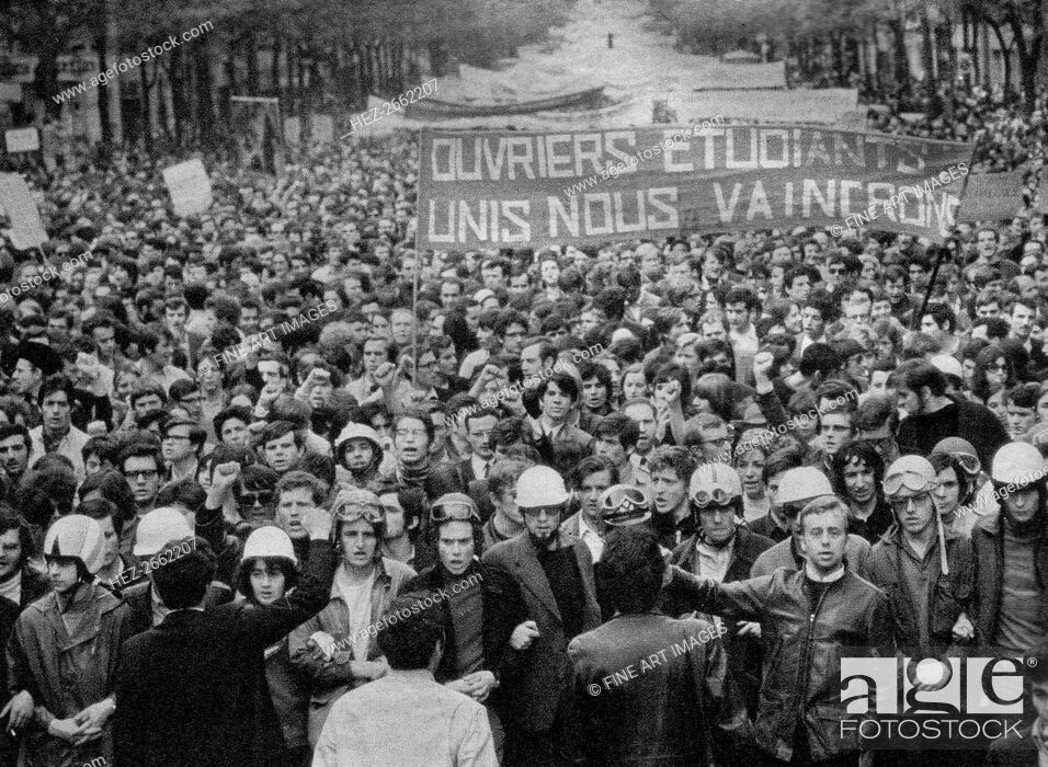 Stock Photo: French Social Revolution of 1968. Students march in the streets of Paris in May 1968, 1968.